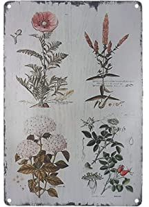 "TISOSO Decorative Signs Vintage Floral Botanical Metal Tin Signs Wall Art Country Pallet Plaque Garden House Signs 8"" X 12"""