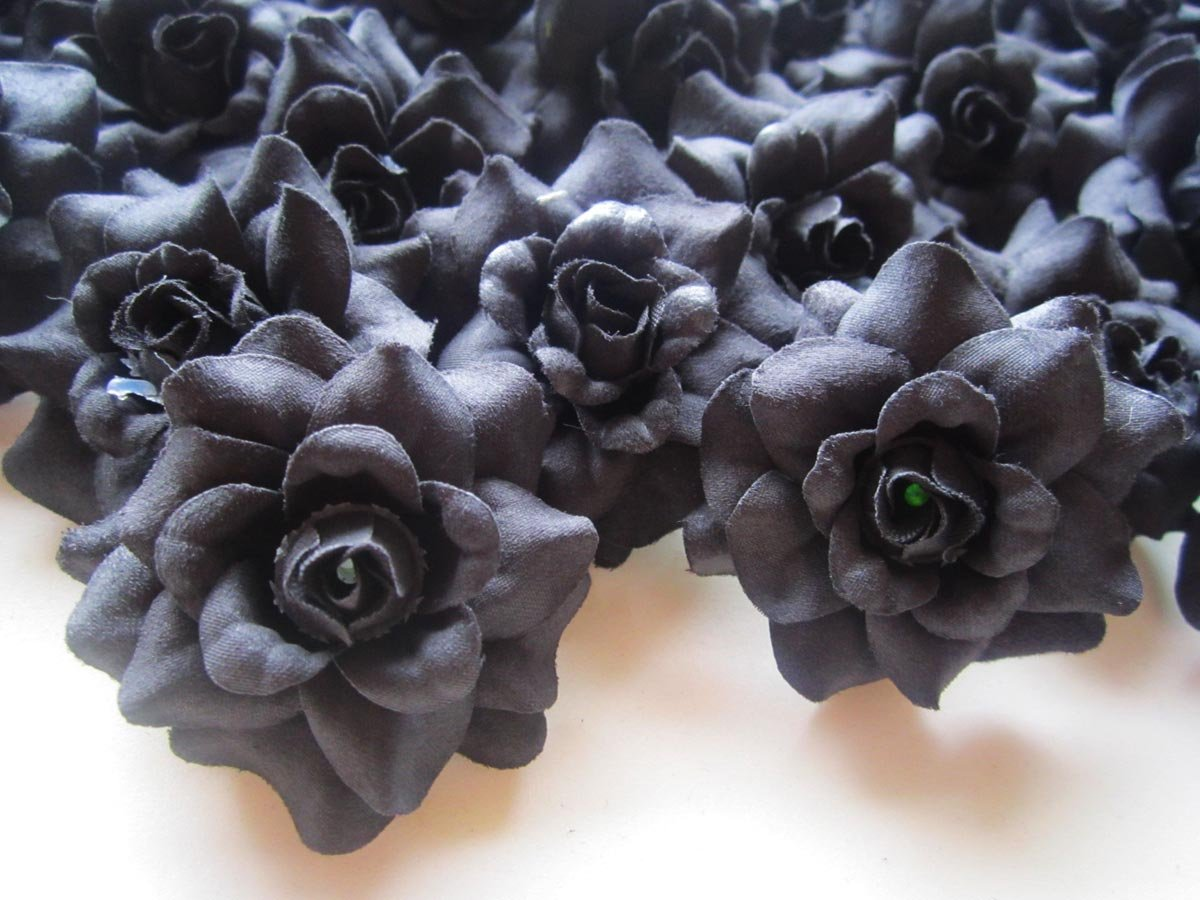 24-Silk-Black-Roses-Flower-Head-175-Artificial-Flowers-Heads-Fabric-Floral-Supplies-Wholesale-Lot-for-Wedding-Flowers-Accessories-Make-Bridal-Hair-Clips-Headbands-Dress