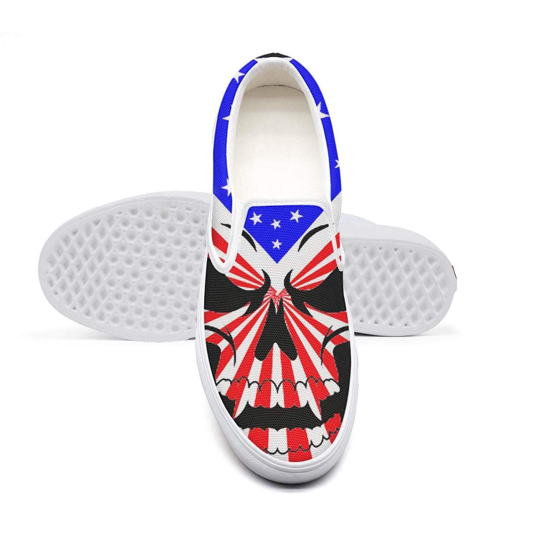 KJGDFS America Flag Painted Skull Skate Shoes Crazy Slip for Womens