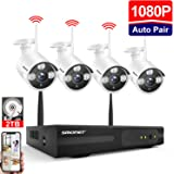 【2019NEW】Wireless CCTV Camera System,SMONET 4CH 1080P Home Security Camera System(2TB Hard Drive),4x2.0MP Outdoor Security Cameras,65ft Night Vision,P2P,Free APP for Wireless Security Camera System