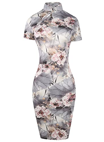 Oxiuly Women's Retro Print Stretch Short Sleeve Stand Collar Sheath Dress OX183
