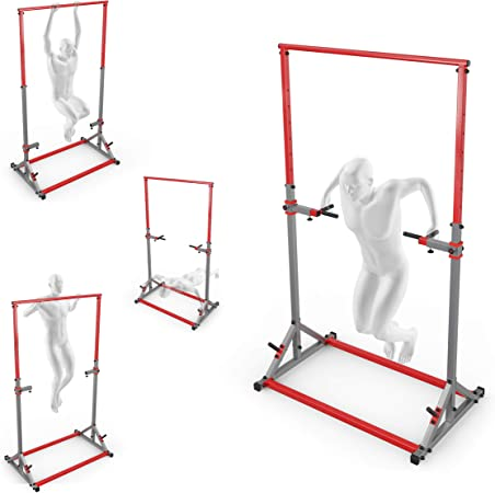 set di allenamento con parete a pioli stazione dip station barra per trazioni e panca da allenamento I Stazione di forza con barra di sollevamento e panca per pesi K-Sport