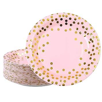 Amazon.com: Elcoho - 60 platos de papel desechables de 7.0 ...