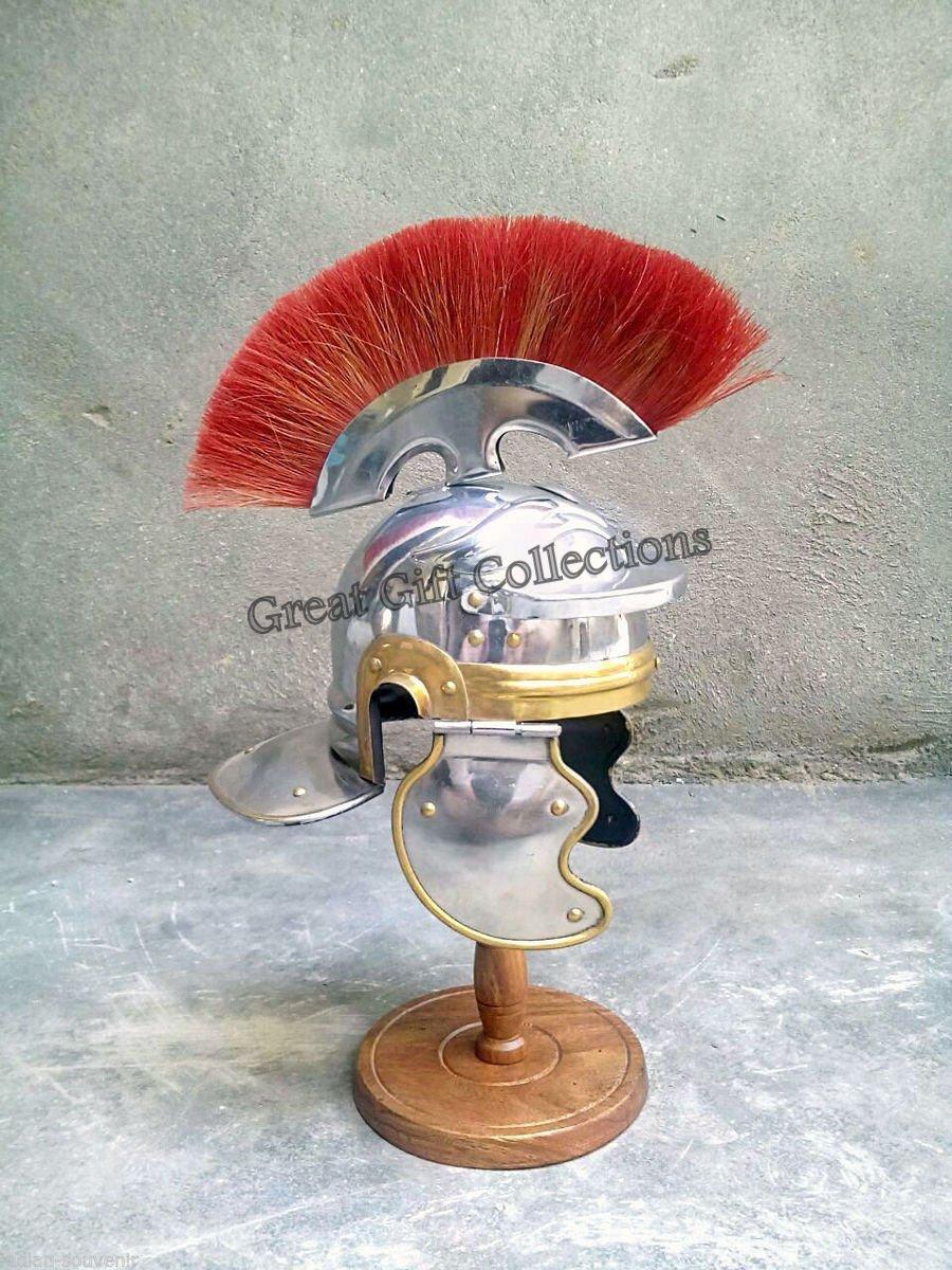 Medieval Roman Centurion Helmet Armor Red Crest Plume Gladiator miniature D1