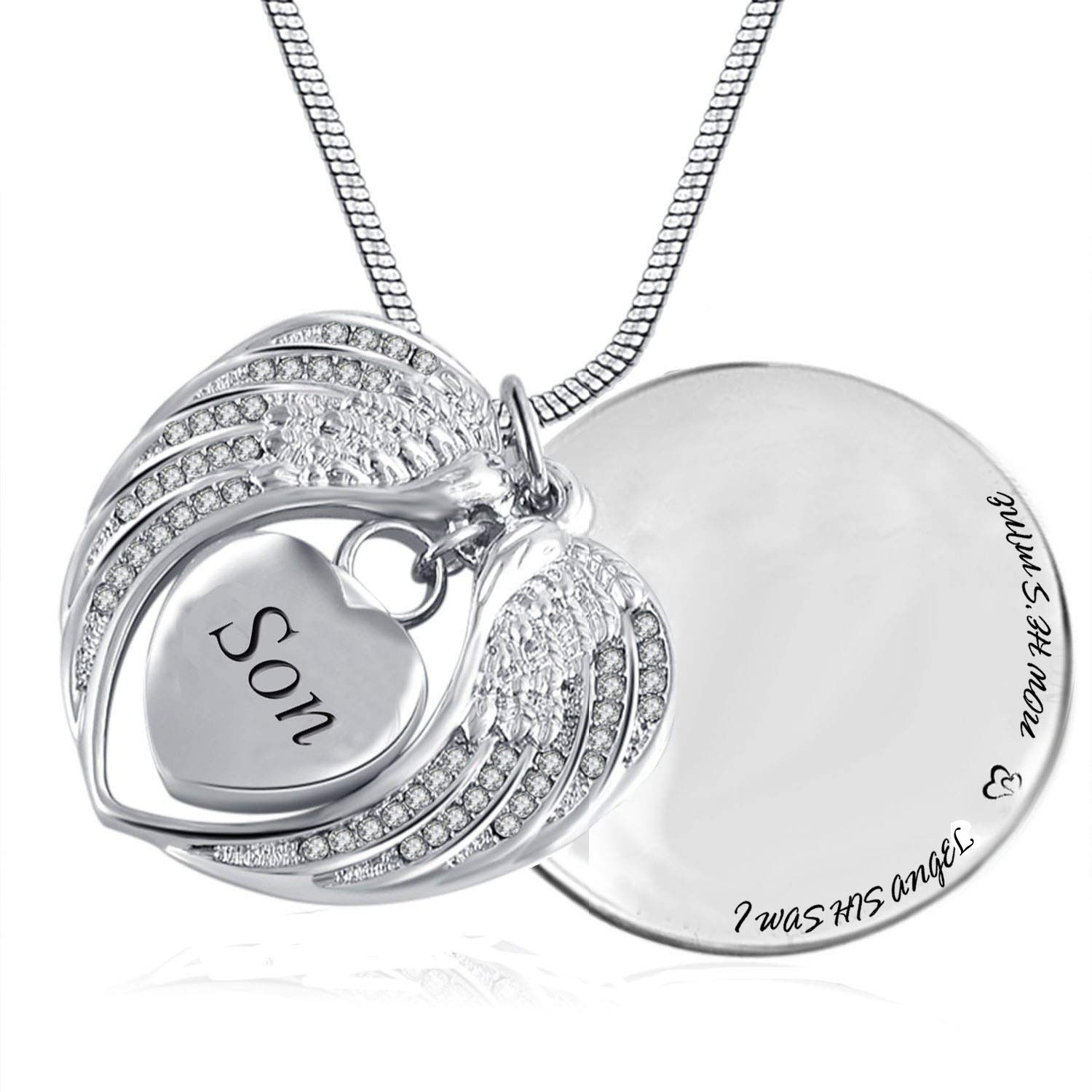 az0719 Heart Cremation Memorial Keepsake Pendant Necklace Jewelry with Fill Kit and Gift Box Heart Cremation Memorial Keepsake Pendant Necklace Jewelry with Fill Kit and Gift Box Angel Wing Urn Necklace for Ashes Grandpa