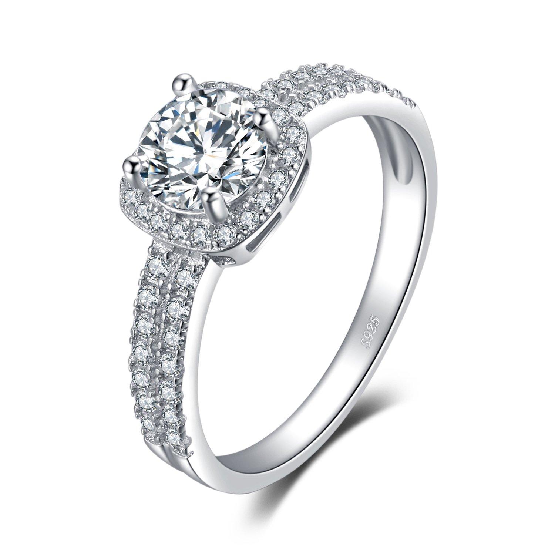 JewelryPalace Halo 1.1ct Rond Zircone Cubique fiançailles Promettre Bague en Argent 925 EU-AR858699