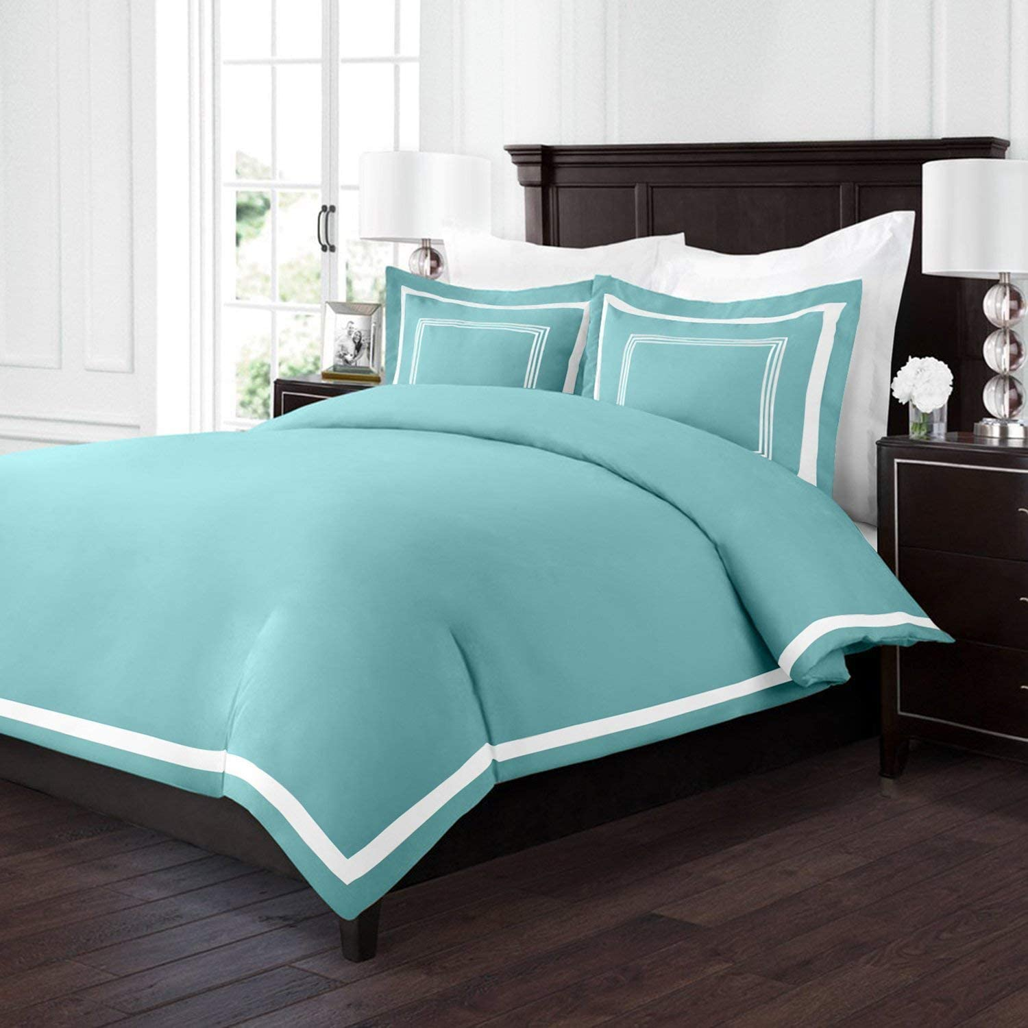Sleep Restoration Luxury Soft Brushed Embroidered Microfiber Duvet Cover Set With Beautiful Trim Embroidery Details Hypoallergenic Full Queen Aqua White Home Kitchen Amazon Com