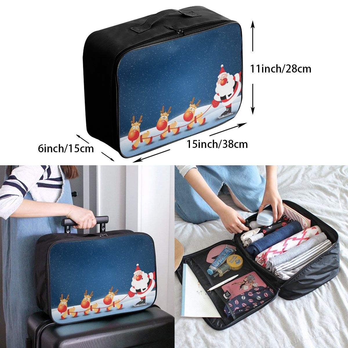 Travel Luggage Duffle Bag Lightweight Portable Handbag Merry Christmas Large Capacity Waterproof Foldable Storage Tote