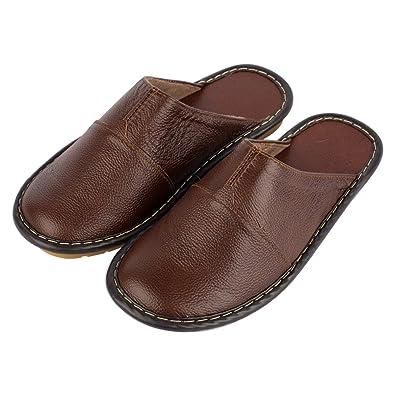 haisum mens indoor outdoor luxury genuine leather mule closed toe