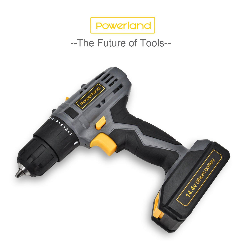 Powerland Perforateur sans fil adaptateur pour forets 14.4v 2 vitesses+ lithium batteries + 13 accessoires+ professionnels Chargeur