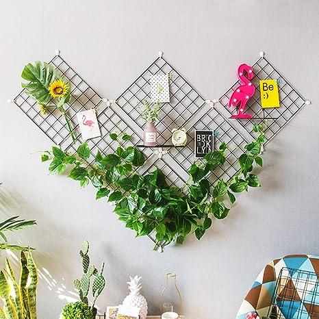 Blanc, 65*45cm WUZILIN Iron Grid Panel photo wall Multifunction Metal Mesh Wall Decor//hanging Photo Wall//Wall Art Display /& Organizer