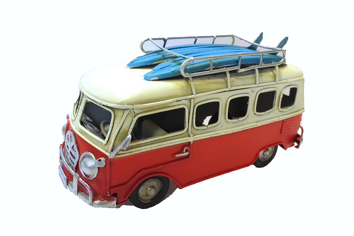 Vintage Looking VW Type Beach Bus Surfers Van Model with Surfboards Moby dick