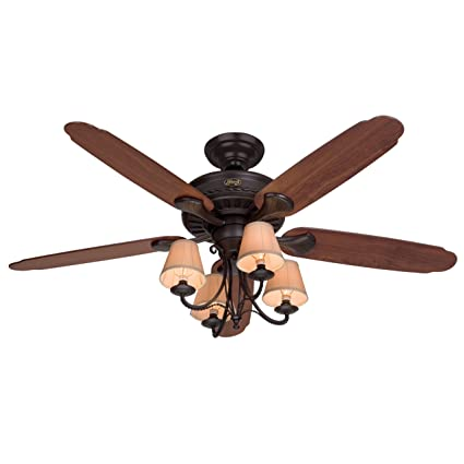 Hunter 22710 cortland 54 inch ceiling fan with optional light and 5 dark cherry