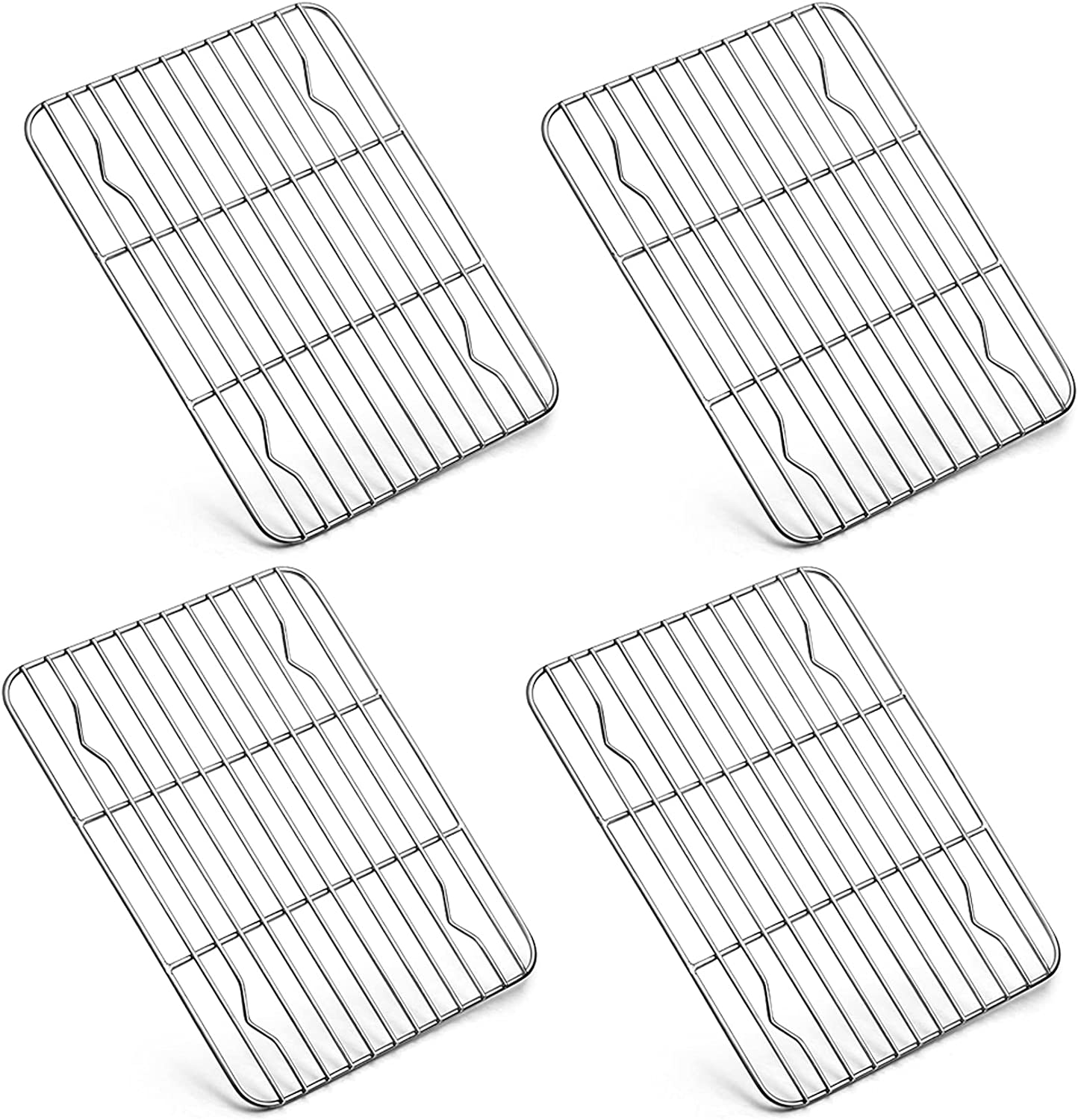 P&P CHEF Mini Baking Cooking Rack, 4 Piece Stainless Steel Wire Rack for Cooling Oven Kitchen Use,Fits Small Toaster Oven, Rectangle 8.6'' x 6.2'' x0.6'', Siliver, Dishwashe Safe
