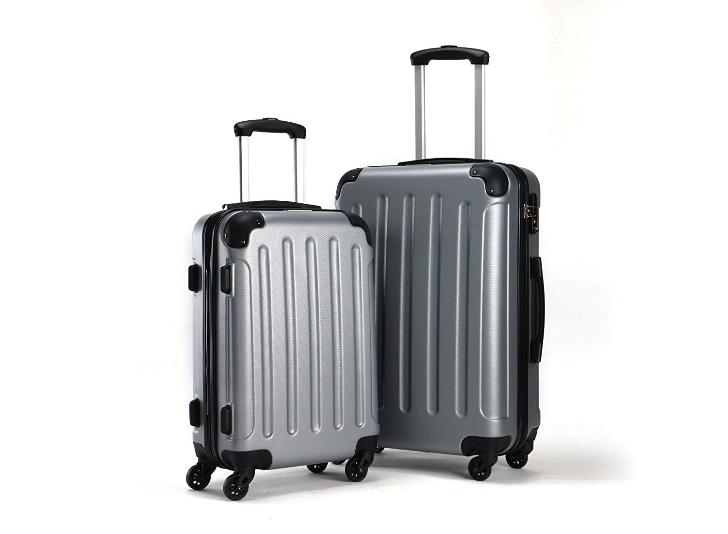 YUL® Brilliant Canada Design Luggage Set Trolley Suitcase Spinner Hard shell Lightweight with TSA locker (Pure Brillant Collection Black, 20+ 24) 20+ 24)