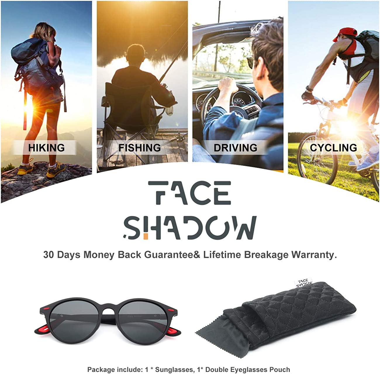 Face Shadow Classic Polarized Sunglasses for Mens Womens Driving Outdoors Eyewear Mirror Fashion UV400 Protection Ultralight