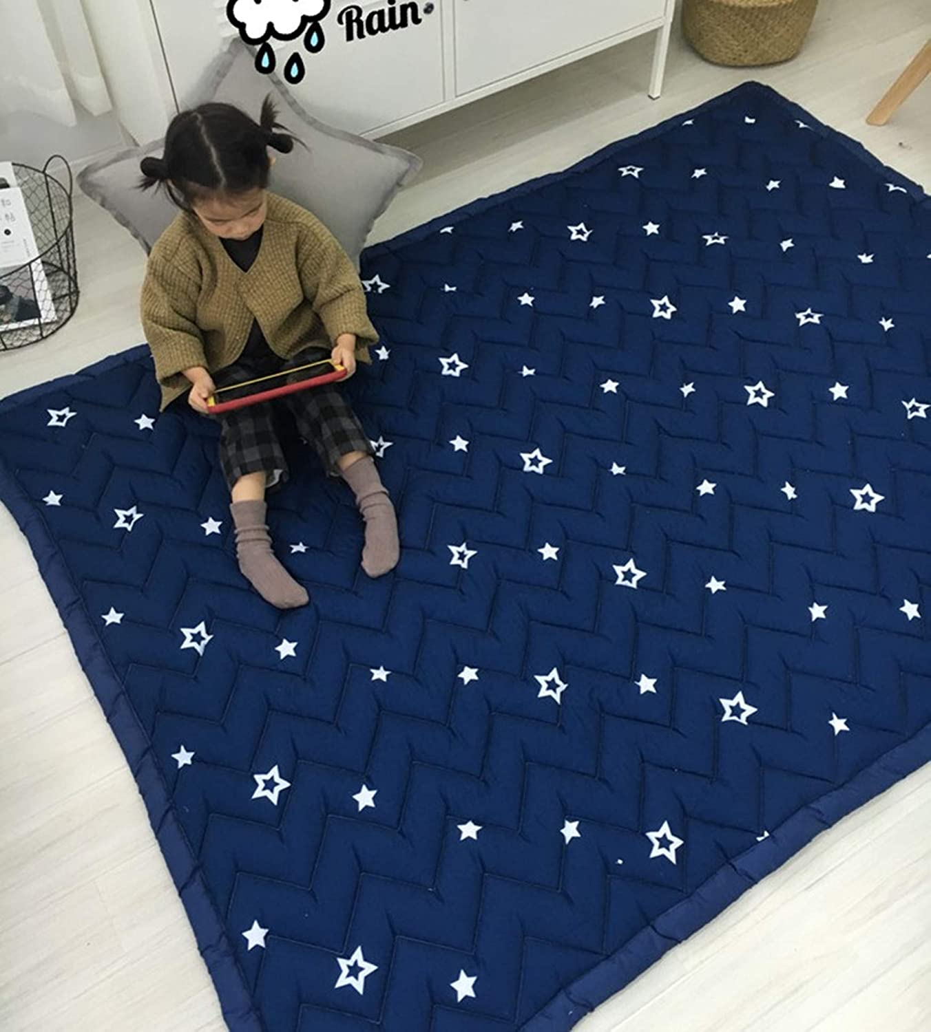 bluee Star Ustide Baby Play Mat bluee Starry Sky Cotton Carpet For Living Room Skin Friendly Crawling Mat
