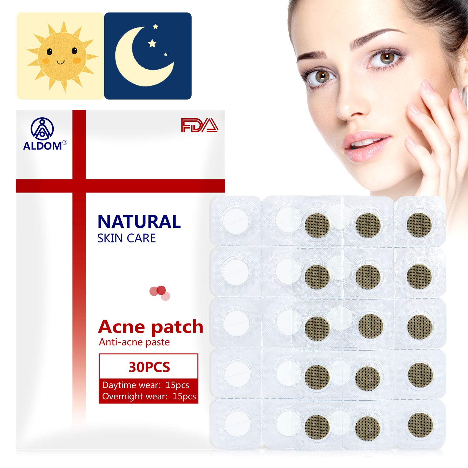 ALDOM Pimple Patch Acne Care Pimple Patches Hydrocolloid Acne Spot Treatment Absorbing Cover Pads Day Night Invisible Cover Patch Skin Treatment Acne Dots Pimple Stickers for Face Spot Patch by ALDOM