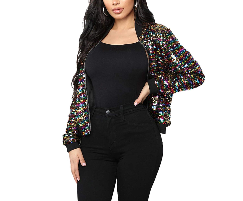 Nerefy Bomber Jacket Women Colorful Sequined Glitter Long Sleeve Zipper Cool Street Club Wear