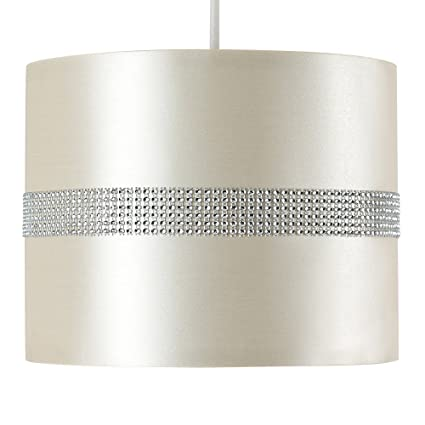 MiniSun – Moderna pantalla cilíndrica para lámpara de techo – de polycotton, color blanco y efecto diamante