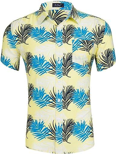 Funky Camisa Hawaiana Manga Corta Impresión De Palmeras para Hombre: Amazon.es: Ropa y accesorios