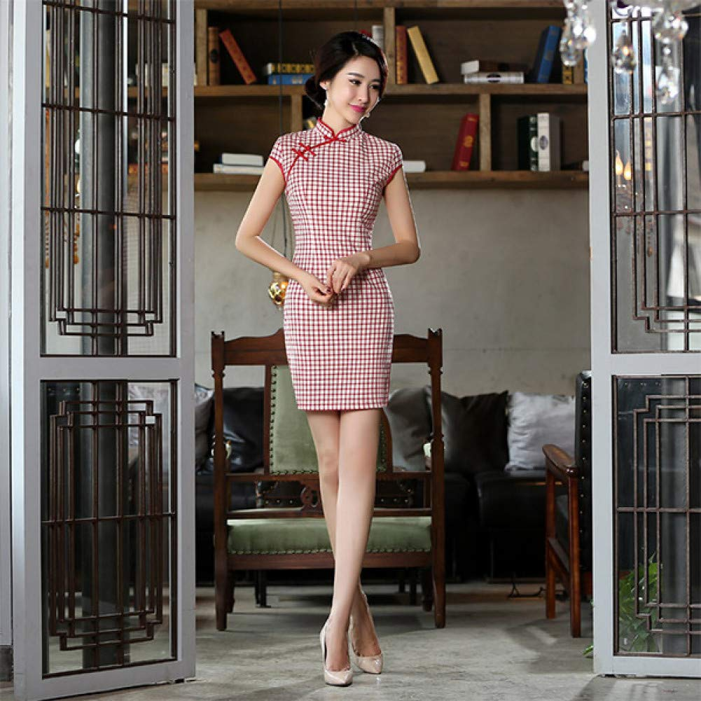 L BINGQZ Daily retro short cheongsam dress new red plaid slim slimming temperament girl Republican