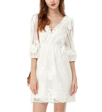 Auuocc Clearance Brand Sexy White Short Party Dresses Women Illusion