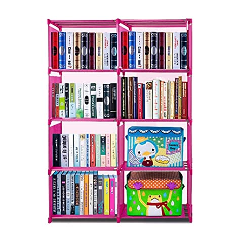 4 Tier 8 Bookshelf Office Home Furniture Organizer Storage Cabinet Bookcase  (Pink)
