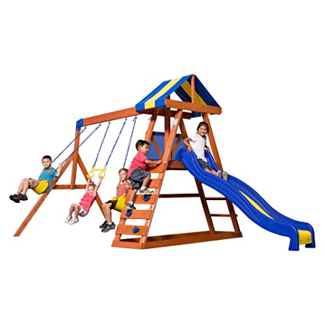 Amazon Com Backyard Discovery Dayton All Cedar Wood Playset Swing