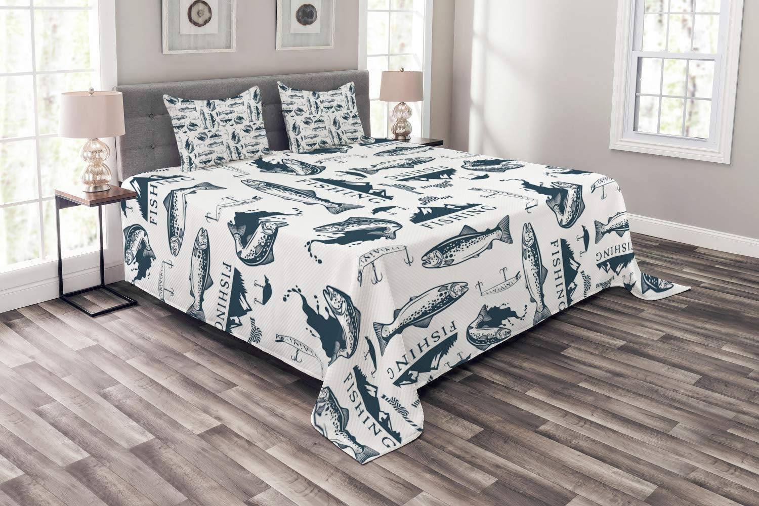Lunarable Trout Bedspread, Trout Emblems Pattern Retro Style Marine Ropes Fishing Lures Mountains, Decorative Quilted 3 Piece Coverlet Set with 2 Pillow Shams, King Size, Dark Blue Grey and White