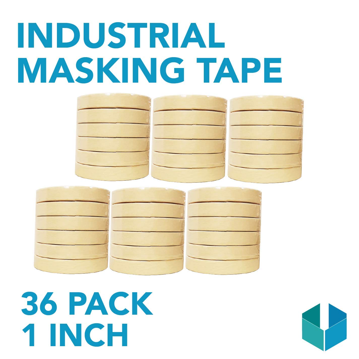Industrial Masking Tape for General Purpose/Painting - CASE of 36-1'' x 60 Yards per roll (24MM x 55M)