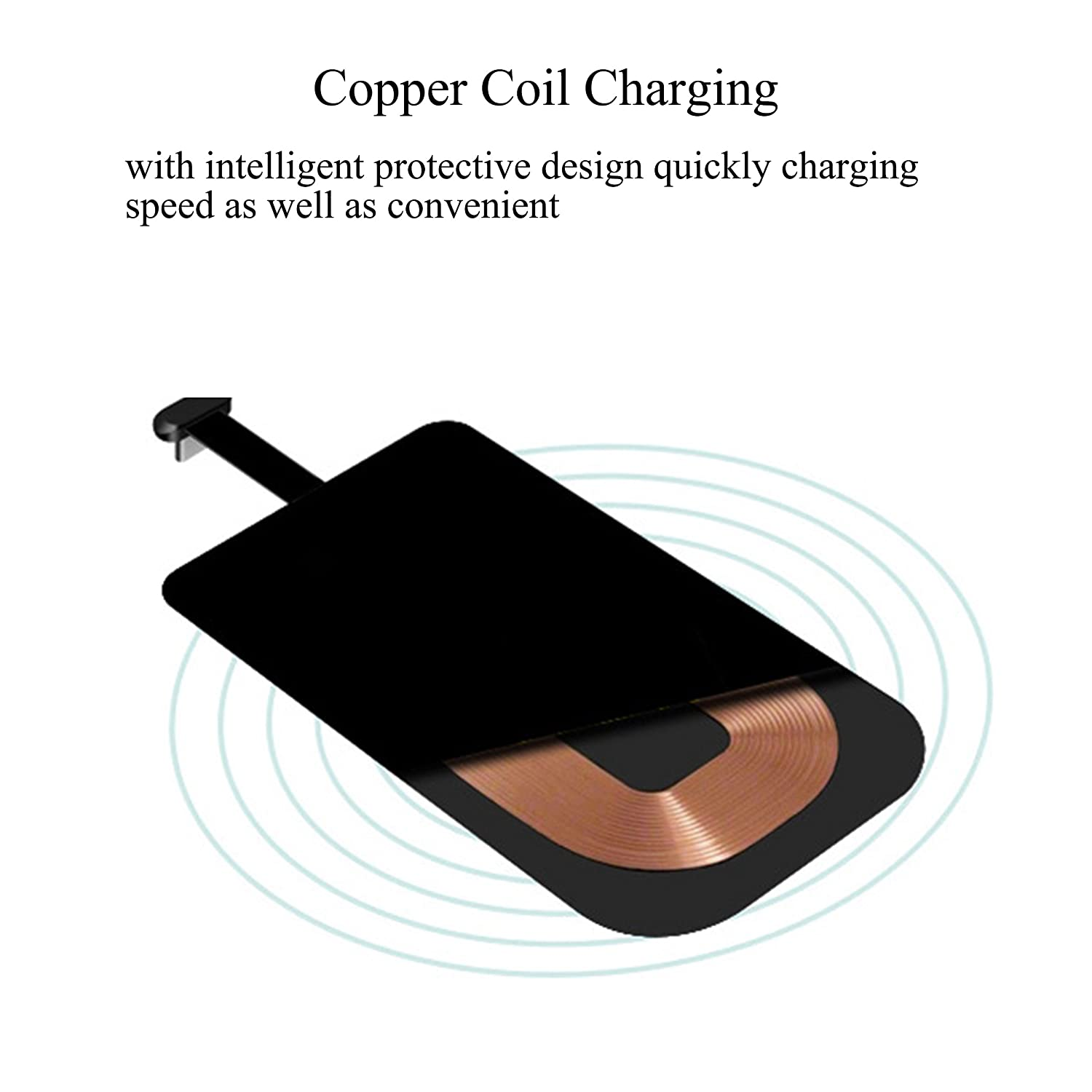 Wireless Charging Receiver,Ultra Slim Add-on Qi Receiver wireless charger kit for iPhone 7/7plus,6/6s plus,6/6s,5/5S/SE,and Other Apple Devices[Gold]