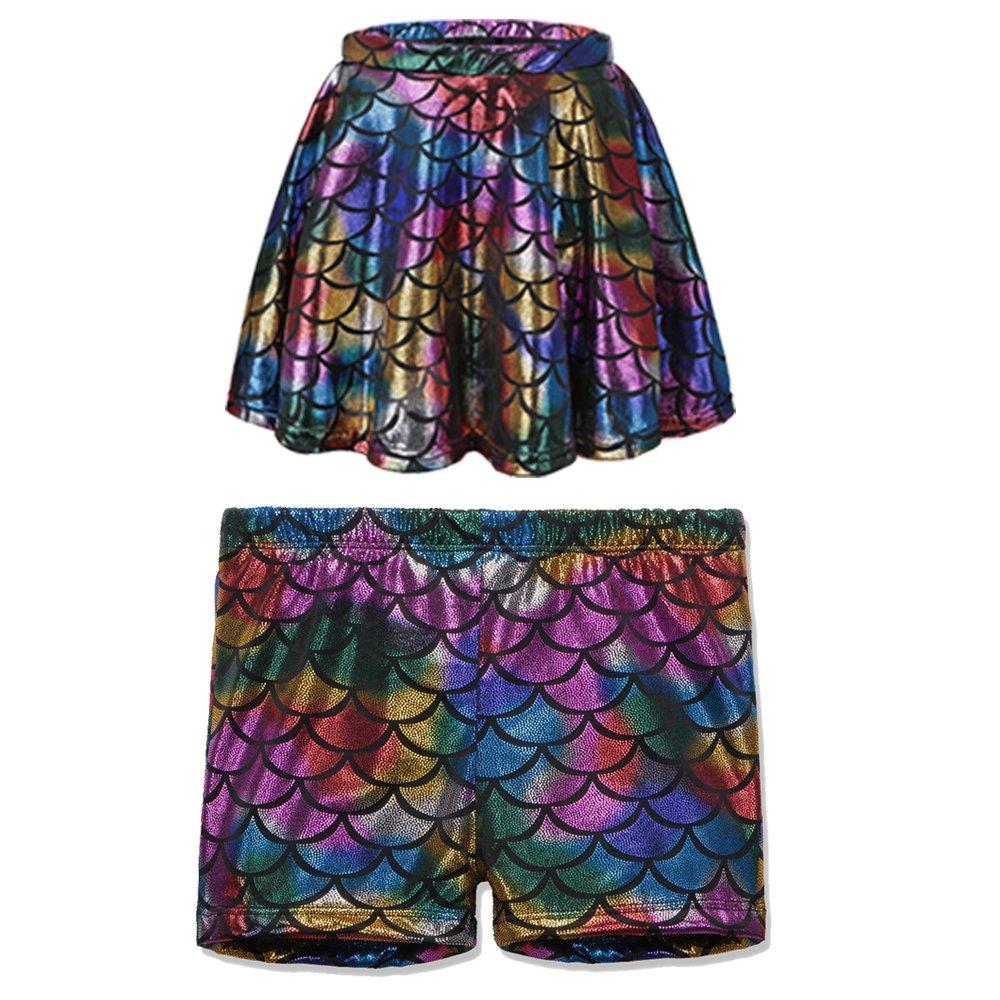 TFJH E Kids Baby Girls Dance Tutu Skirt Shorts Fish Scale Stretch Leggings Pants Colorful Skirt and Shorts L