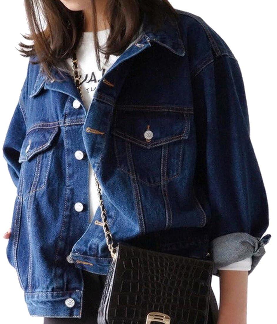 SHOWNO-Women Fashion Fit Lapel Collar Button Up Plus Size Denim Jackets