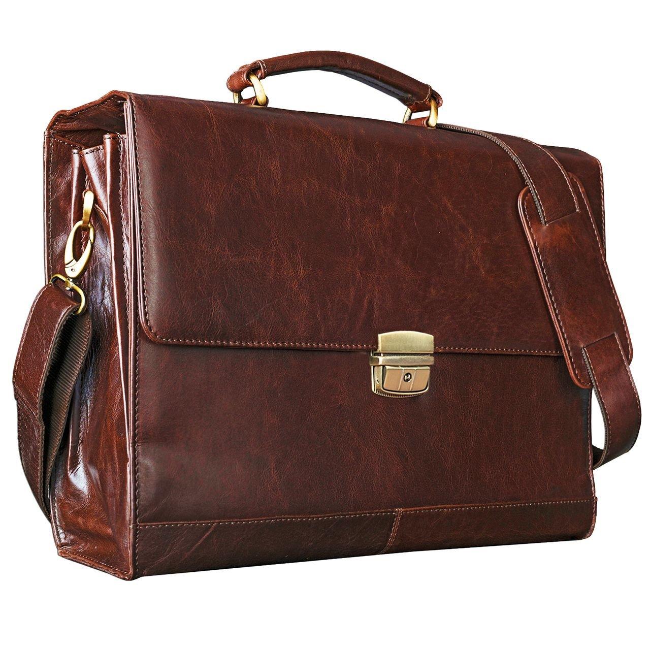 STILORD 'Philipp' Ventiquattrore pelle vintage per un PC portatile 15,6 pollici Cartella porta PC 15,6 ' marrone Borsa da lavoro portadocumenti, Colore:marrone - antico