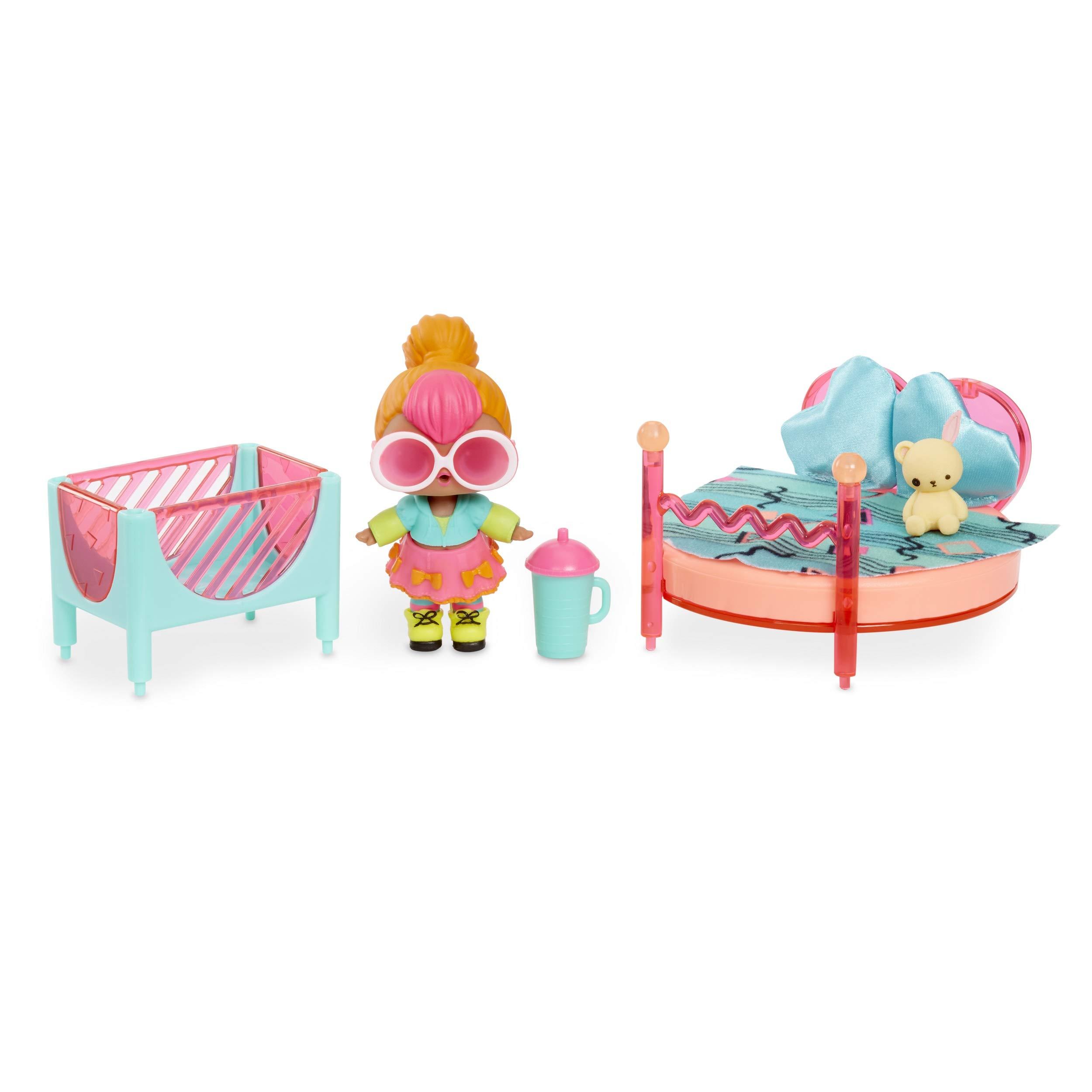 L.O.L. Surprise! Furniture Bedroom with Neon Q.T. & 10+ Surprises, Multicolor by L.O.L. Surprise!