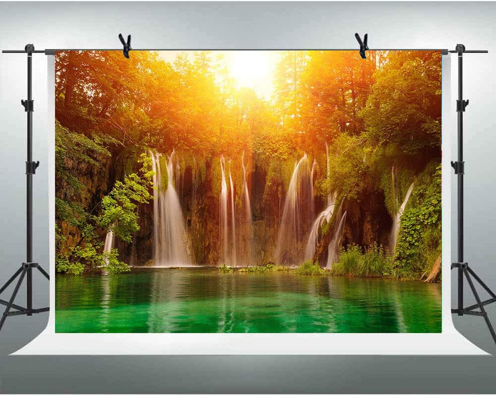 Zhy Natural Cascade Landscape Background 7X5FT Green Forest Mountain Scene Photography Backdrop Vinyl Photo Backdrop Studio Booth Props TVV046