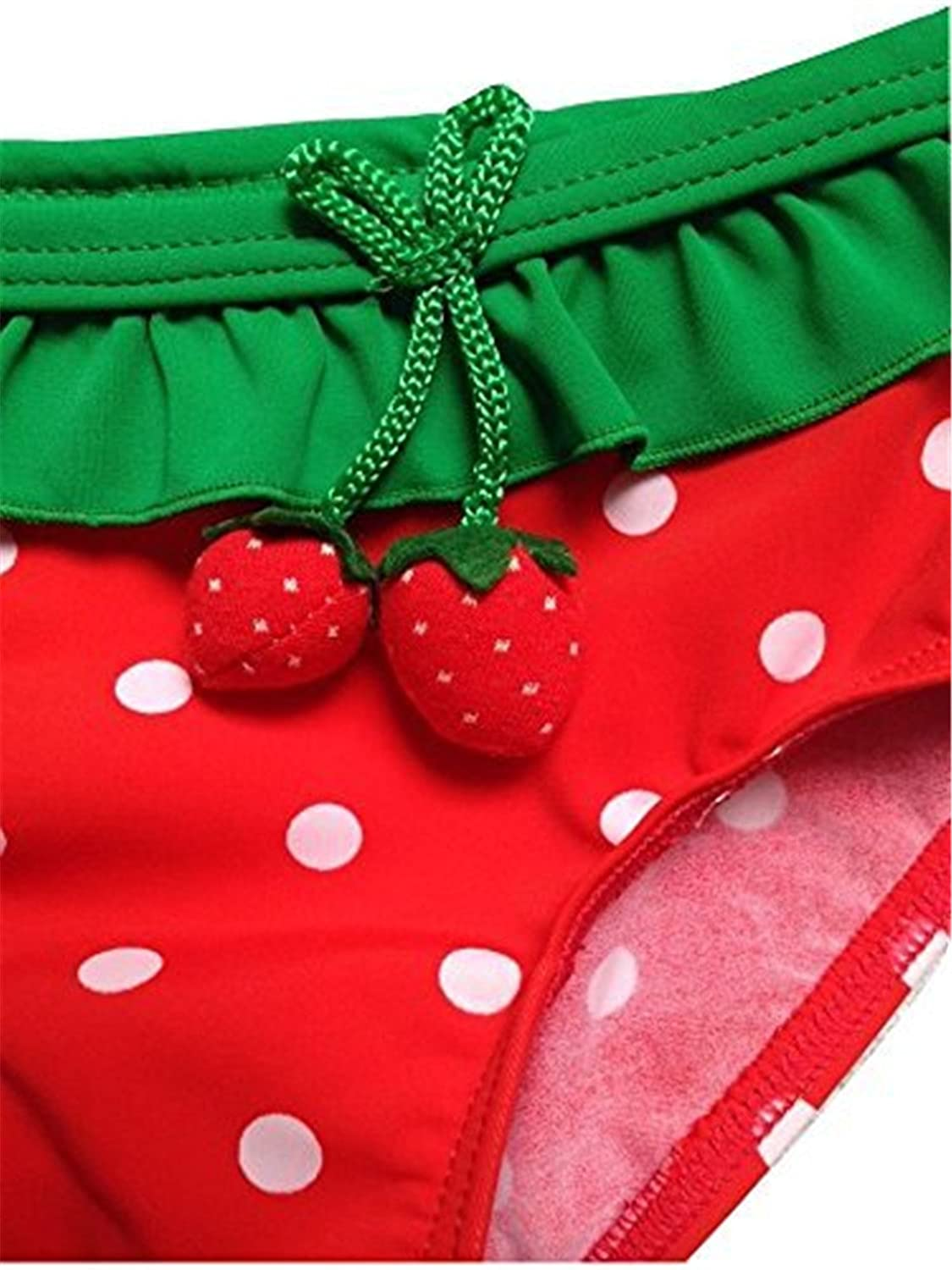 JELEUON Baby Girls Toddler Kids 3 Piece Strawberry Bikini Swimsuit Swimwear with Hat