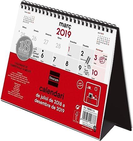 Finocam Calendario sobremesa 18 meses 2018-2019 catalán: Amazon.es: Oficina y papelería