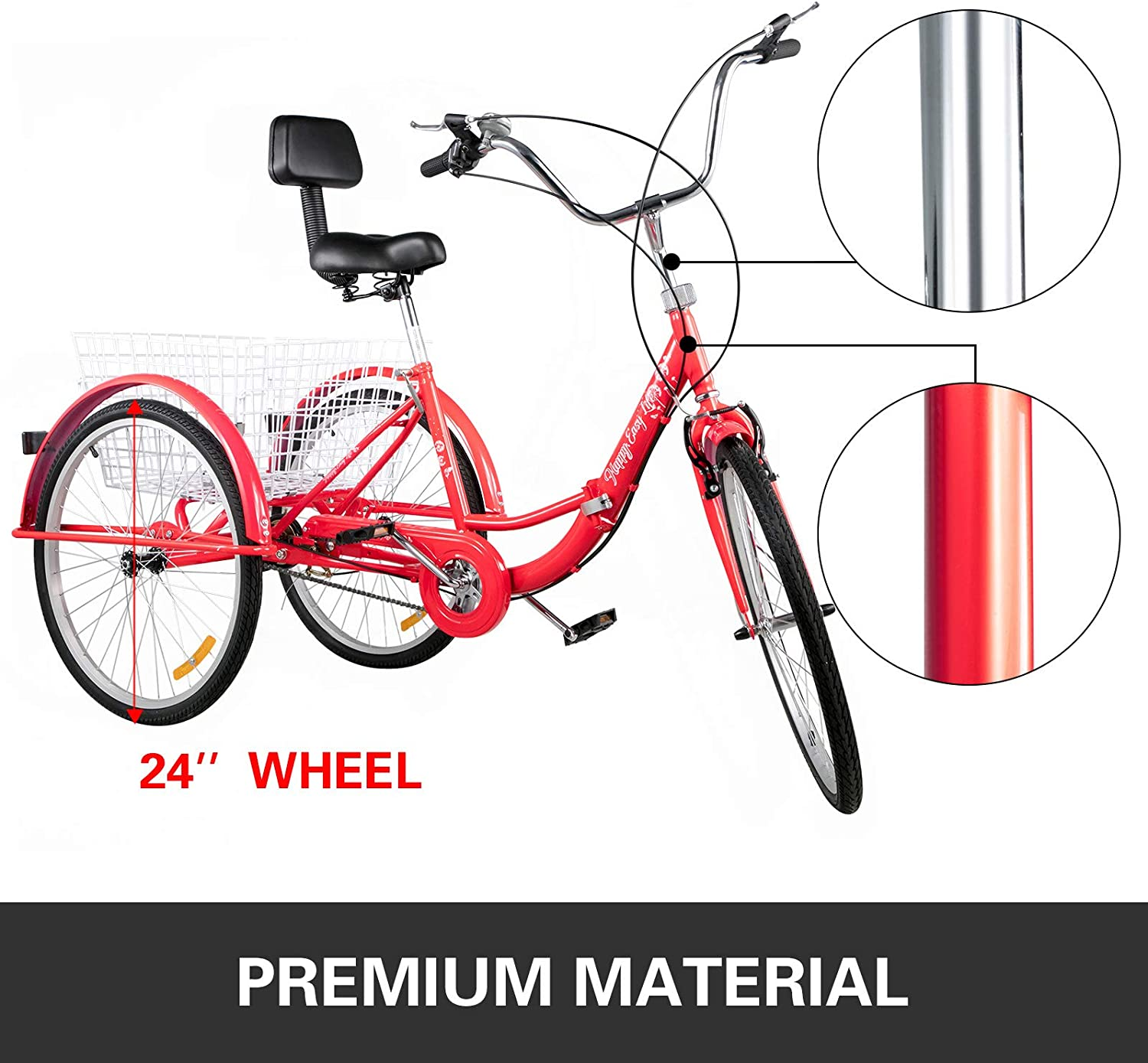 Bkisy Tricycle Adult 24/'/' Wheels Adult Tricycle 1-Speed 3 Wheel Bikes White for Adults Three Wheel Bike for Adults Adult Trike Adult Folding Tricycle Foldable 3 Wheel Bike for Adults