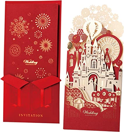 Amazon Com Wishmade 50pcs Laser Cut 3d Red Wedding Invitations Cards With Gold Gilding Bride And Groom In Castle Invitation For Engagement Wedding Invites Pack Of 50pcs Office Products
