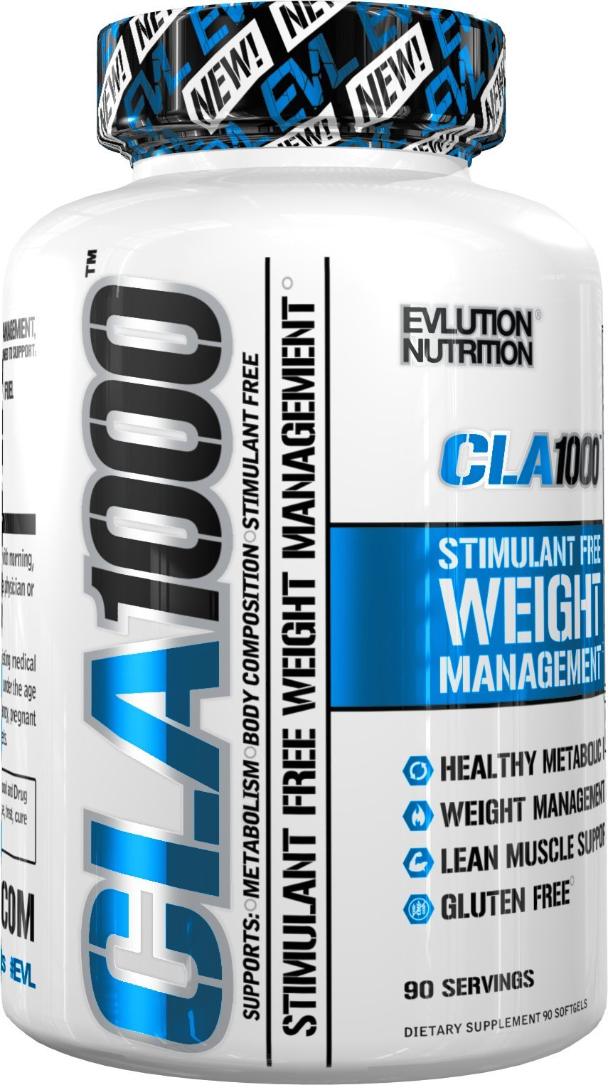 Evlution Nutrition CLA 1000 Conjugated linoleic acid, 90 Serving Soft Gel, Weight Loss Supplement, Stimulant-Free by Evlution