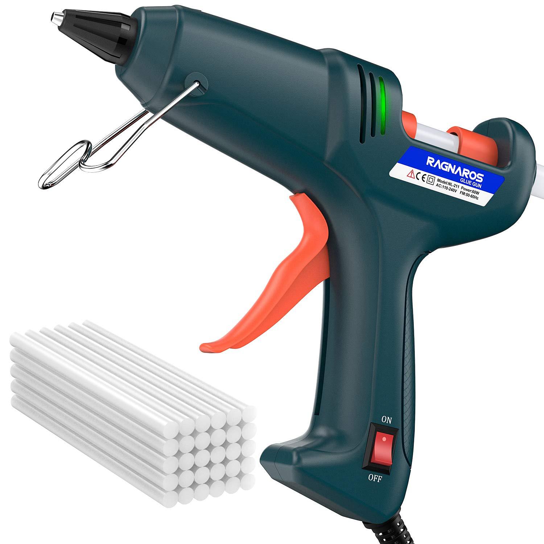Hot Glue Gun kits -- RAGNAROS 60 Watt best Hot Melt Glue Gun- High-Tech Electronic PTC heating technology For Arts & Crafts, & Sealing and Quick Repairs,Green (30 hot glue gun sticks INCLUDED) Gun-RAG-01