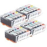 4 Compatible Set de 5 Canon PGI-520 / CLI-521 Cartouches d'encre avec puces pour imprimantes (20 encres) - noir / cyan / magenta / jaune pour Canon Pixma iP3600, iP4600, iP4700, MP540, MP550, MP560, MP620, MP630, MP640, MP980, MP990, MX860, MX870