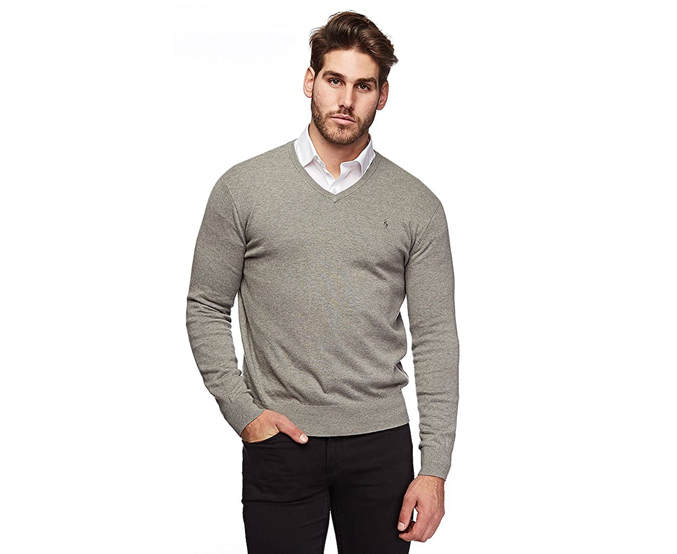 3ab17136e0 Polo Ralph Lauren Men's Pima Cotton V Neck Long Sleeve Sweater