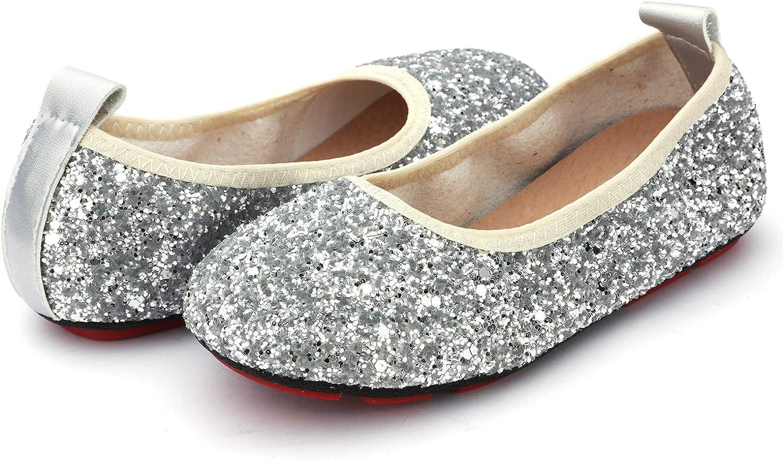 Toddler//Little Kid UBELLA Baby Girls Glitter Sequins Foldable Ballet Flats Princess Ballerina Dress Shoes