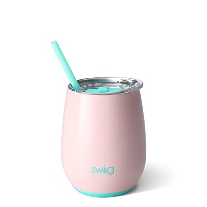 cf84ec6a887 Amazon.com: Swig Life Stainless Steel Signature 14oz Stemless Wine Cup with  Spill Resistant Slider Lid and Reusable Straw in Blush: Home & Kitchen