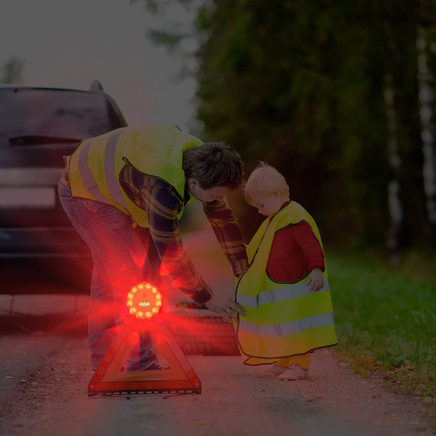 8 Pack AK LED Road Flares Safety Flashing Warning Light Roadside Emergency Disc Beacon Kit for Vehicles Boats with Magnetic Base /& Hook Batteries Not Included Premium Storage Bag 8