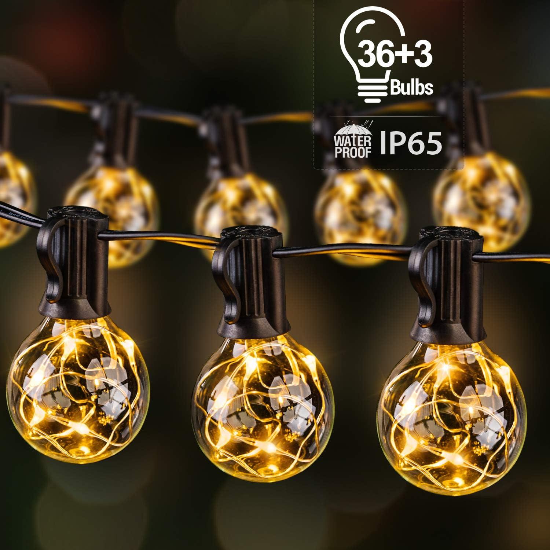 Guirnalda Luces Exterior con 36+3 G40 Bombillas, Ulinek IP65 13,5M Guirnaldas Luminosas Exterior 195LEDs Súper Ahorra Energía Cadena Luce Decoracion para Navidad Habitacion Pergola Jardín Toldos Patio: Amazon.es: Iluminación