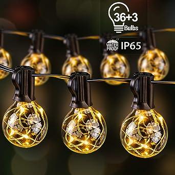 Guirnalda Luces Exterior con 39 G40 Bombillas 195LED, Ulinek 13,5M IP65 Guirnaldas Luminosas Exterior Súper Ahorra Energía Cadena Luce Decoracion para Navidad Habitacion Pergola Jardín Toldos Patio: Amazon.es: Iluminación